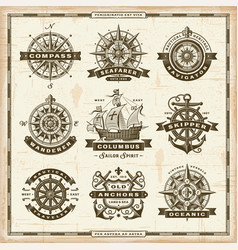 Vintage nautical labels collection vector