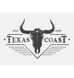 Western logo with bull skull vector