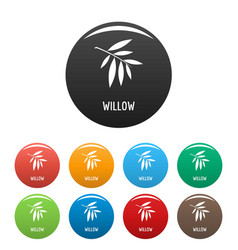 Willow leaf icons set color vector