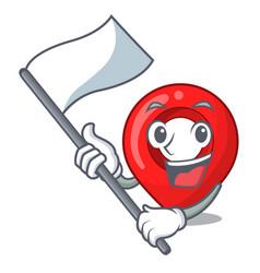 with flag map marker navigation pin mascot cartoon vector image