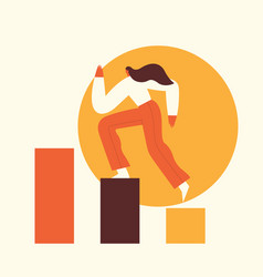 woman climbing steps to success motivation vector image