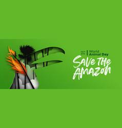 World animal day amazon fire paper cut toucan bird vector