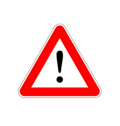 attention bright red warning sign on white vector image vector image