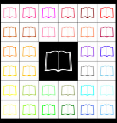 book sign felt-pen 33 colorful icons at vector image