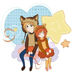Couple in the Clouds vector image vector image
