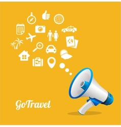 Megaphone and icon Travel concept vector image vector image