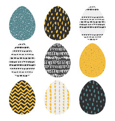 set of 9 handdrawn textured eggs vector image vector image