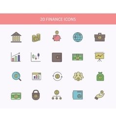 Set of thin lines outline financial service vector image