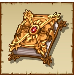 Ancient magic book in a gold cover with ruby gem vector image