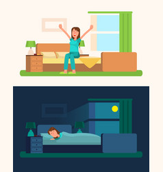 day and night pictures with girl vector image