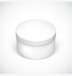 Realistic round package box for products vector image vector image