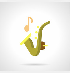 sax music flat color icon vector image vector image