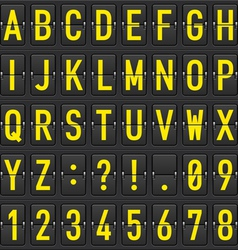 set of letters on a mechanical timetable vector image