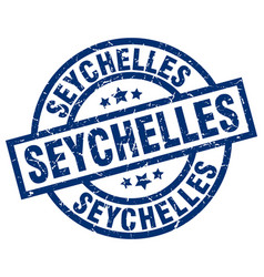 seychelles blue round grunge stamp vector image vector image