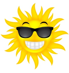 happy summer sun with glasses vector image