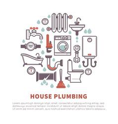 house plumbing of bathroom and kitchen vector image vector image