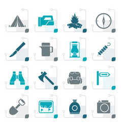 stylized tourism and hiking icons vector image vector image