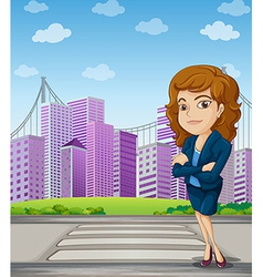 A businesswoman with a formal attire standing at vector image vector image
