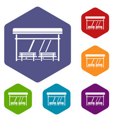 bus stop icons set vector image vector image