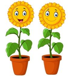 Cartoon happy sunflower vector image vector image