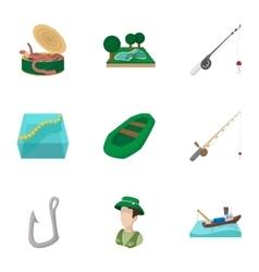 Fishing icons set cartoon style vector image vector image