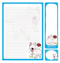 paper note bull terrier vector image vector image