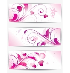 Set of cards with floral background and hearts vector image