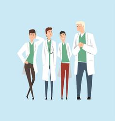 smiling doctors team hospital workers standing vector image vector image