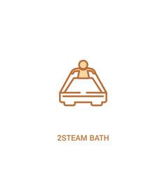 2steam bath concept 2 colored icon simple line vector