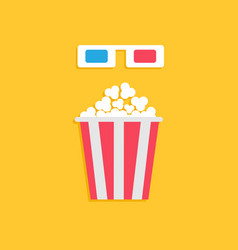 3d paper red blue glasses and big popcorn box vector image