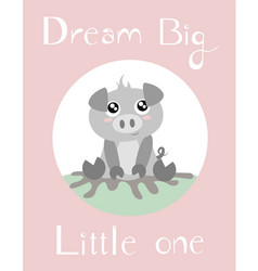 A piglet with baby pink vector