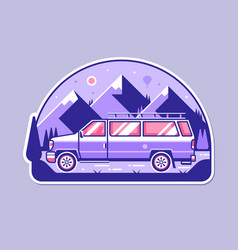 adventure badge with minivan and mountains vector image