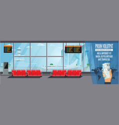 airport interior waiting hall departure lounge vector image