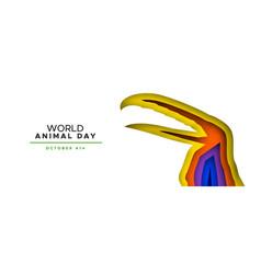 Animal day color papercut banner wild toucan bird vector