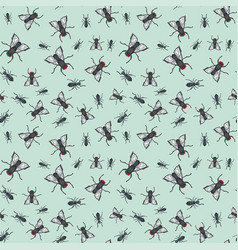 ant and fly seamless pattern vector image