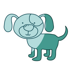 Aquamarine hand drawn silhouette of dog vector