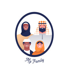 Arab family people character photo frame isolated vector