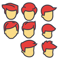 Avatars male users red hairs concept line vector