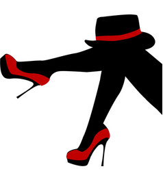 beautiful sexy woman legs with red shoes and hat vector image