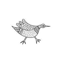 bird in indian traditional gong style vector image