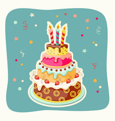 Birthday cake tier candles strawberry vector