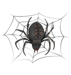 Black big scary spider sitting center of web vector