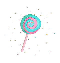 Blue and pink lollipop fun cartoon icon vector