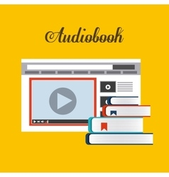 Book and Website icon Audiobooks design vector image