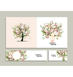 Business cards floral girl for your design vector image