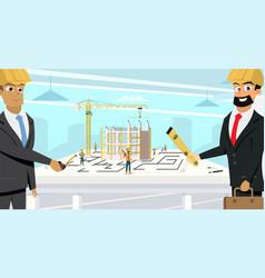 businessmen planning building project flat vector image