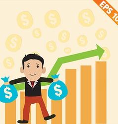 Cartoon Businessman with positive graph money - vector image