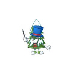 Cartoon character christmas tree snow magician vector