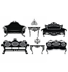 Classic Baroque furniture set vector