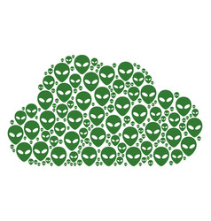 Cloud composition of alien face icons vector